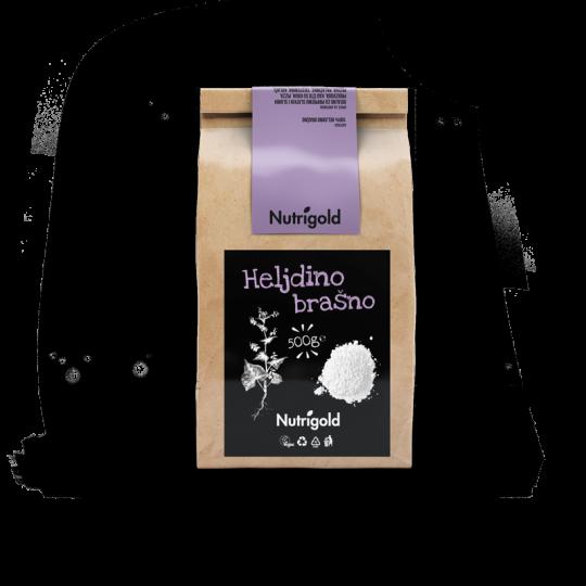 heljdino brašno Nutrigold u papirnatoj natron ambalaži od 500g sa crno ljubičastom naljepnicom