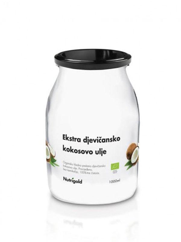 Nutrigold organsko ekstra djevičansko kokosovo ulje u staklenoj ambalaži od 1000ml