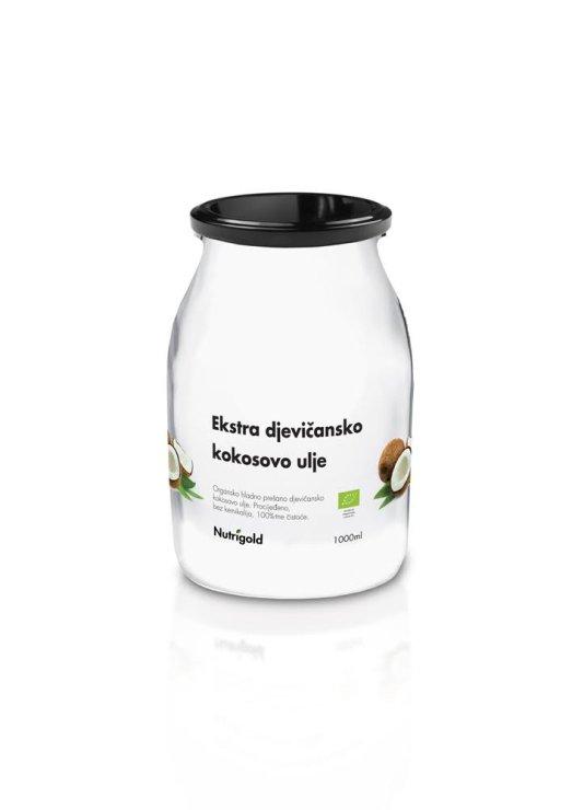 Nutrigold ekstra djevičansko kokosovo ulje u prozirnoj staklenoj ambalaži 1000ml