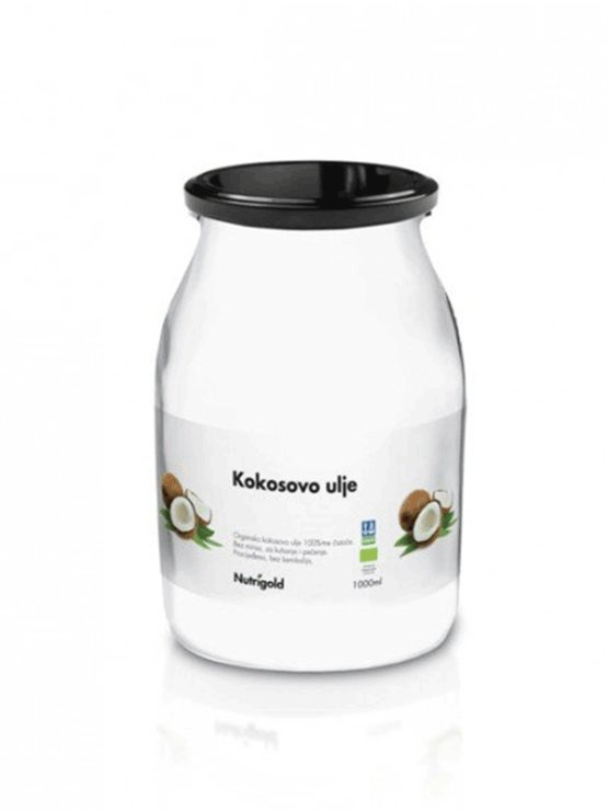 Nutrigold organsko kokosovo ulje bez mirisa u staklenci od 1000 ml.