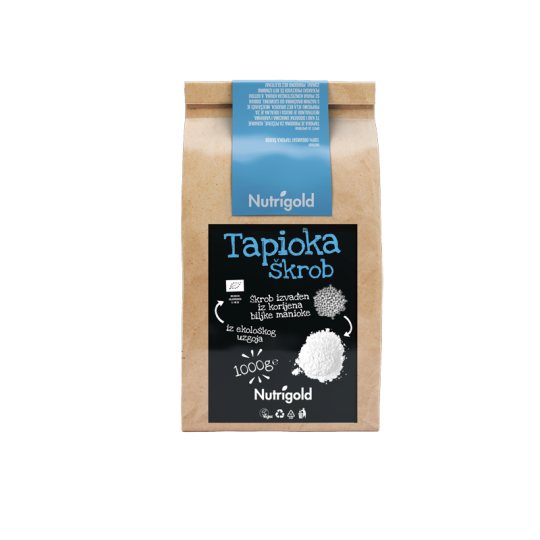 Nutrigold tapioka škrob iz certificiranog organskog uzgoja u smeđoj papirnatoj ambalaži od 1000 grama.