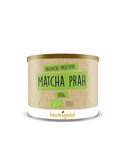 Nutrigold matcha prah iz certificiranog organskog uzgoja u smeđoj posudi od 100 grama.