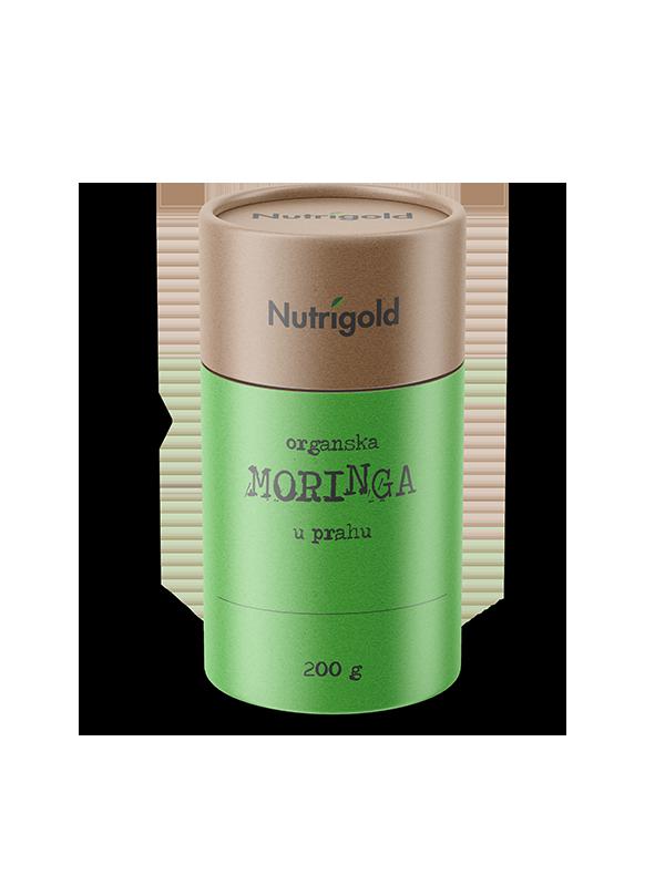 Nutrigold organska moringa u prahu u smeđoj posudi od 200 grama.