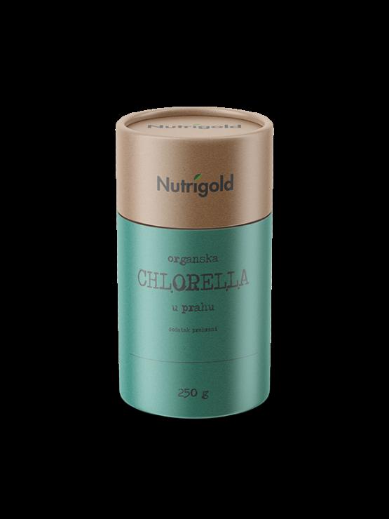 Nutrigold organski chlorella prah u zelenoj tubastoj ambalaži od 250 grama