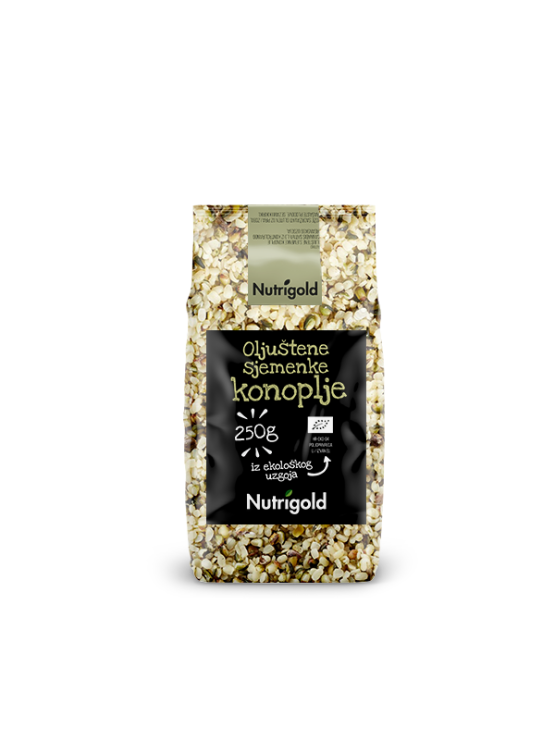 Nutrigold Konopljine sjemenke oljuštene - organske  u prozirnoj plastičnoj ambalaži 250g