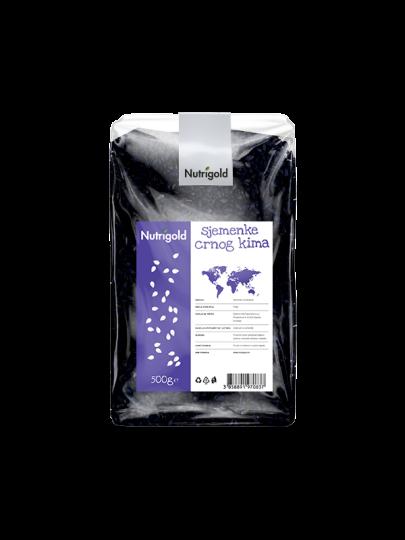 Nutrigold sjemenke crnog kima u plastičnoj prozirnoj ambalaži od 500 grama.