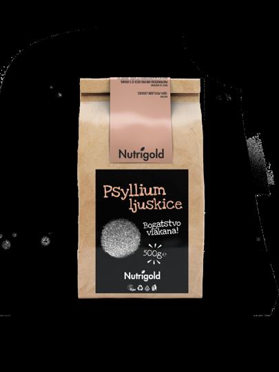 Nutrigold psyllium ljuskice u papirnatoj ambalaži od 500 grama.