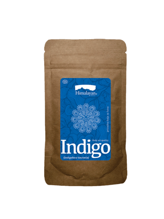 Indigo natural mask and hair dye in a firm paper packaging of 100g