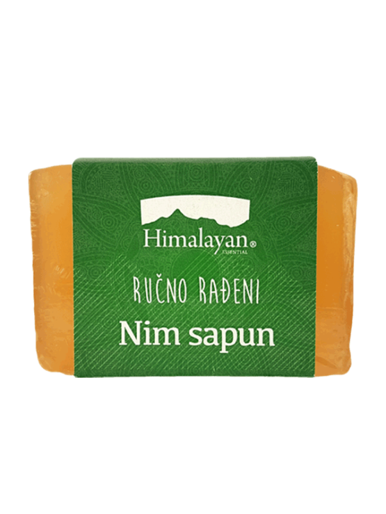 Handmade neem soap bar wrapped in green label 100g