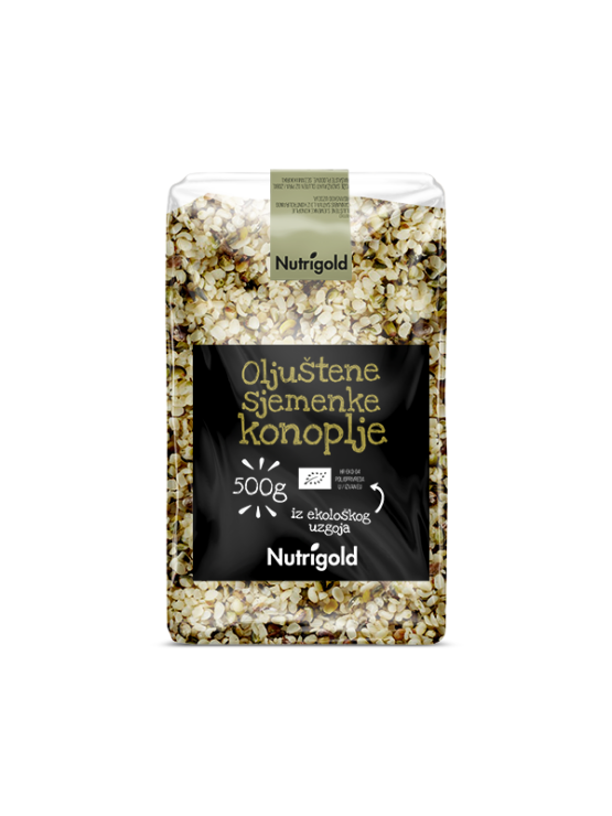 Nutrigold Konopljine sjemenke oljuštene - organske u prozirnoj plastičnoj ambalaži 500g