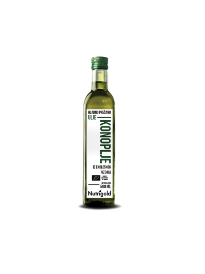 Organsko hladno prešano Nutrigold ulje konoplje u staklenoj ambalaži od 500 mililitara