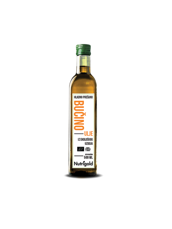 Nutrigold cold pressed pumpkin seed oil in a dark glass bottle of 500ml