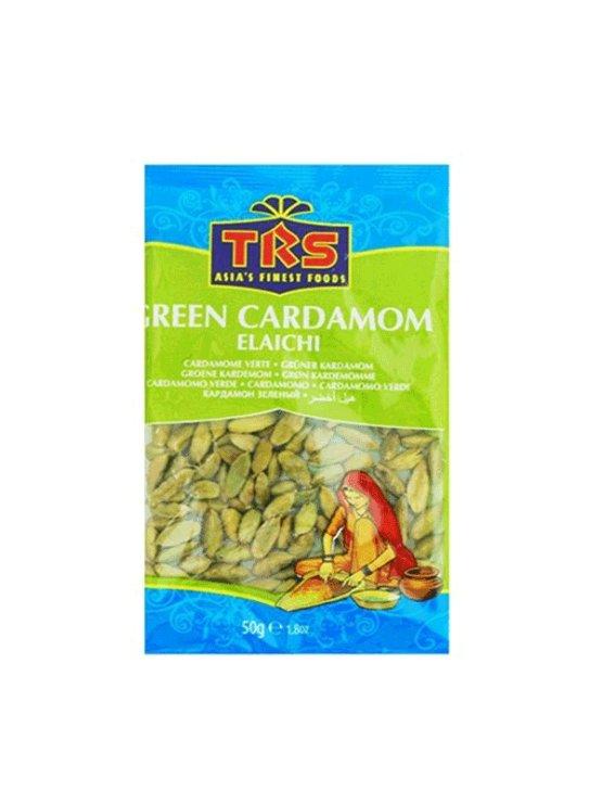 TRS green cardamom seeds in bag packaging of 50g