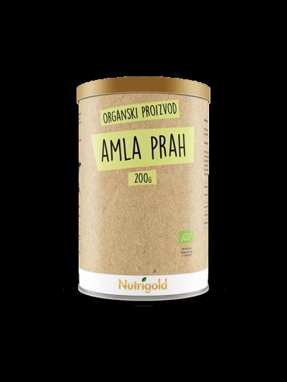 Nutrigold amla (amalaki) u prahu iz certificiranog organskog uzgoja u smeđoj posudi od 200 grama.
