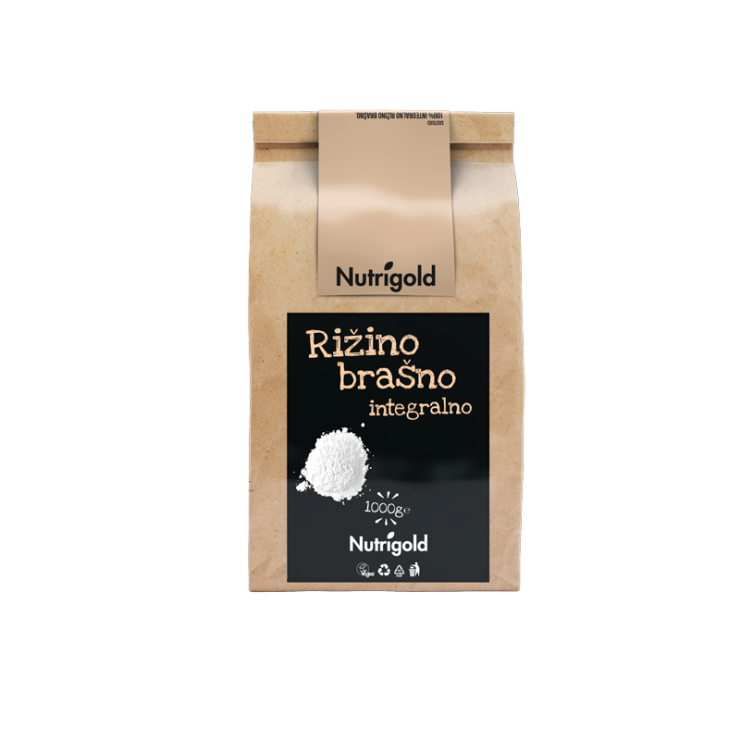 rižino inzegralno brašno nutrigold u papirnatoj natron ambalaži  od 1000 g sa crno smeđom naljepnicom