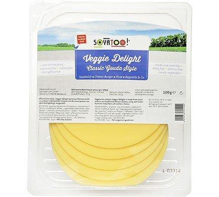 Soyatoo organic gouda style vegan cheese in a 100g packaging