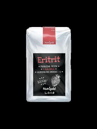 Bijeli eritrit u prozirnoj plastičnoj ambalaži od 1000 grama.