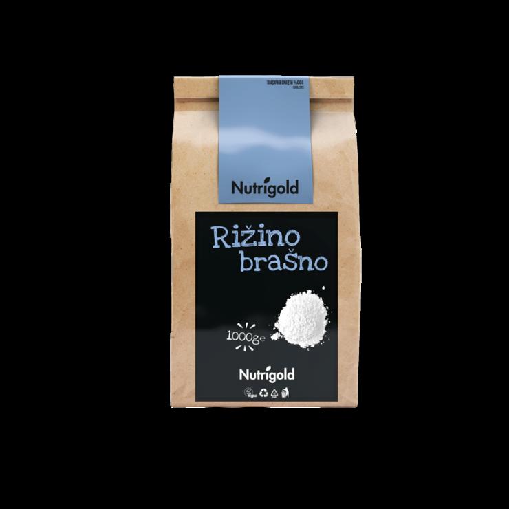 Rižino brašno nutrigold u papirnatoj natron ambalaži od 1000g sa crno plavom naljepnicom