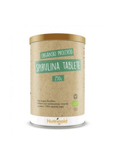 Organske Nutrigold spirulina tablete u smeđoj posudi od 250 grama