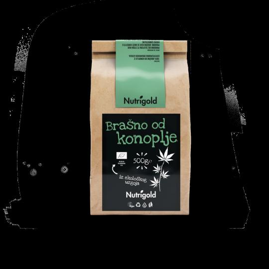 Nutrigold brašno od konoplje iz certificiranog organskog uzgoja u smeđoj papirnatoj ambalaži od 500 grama