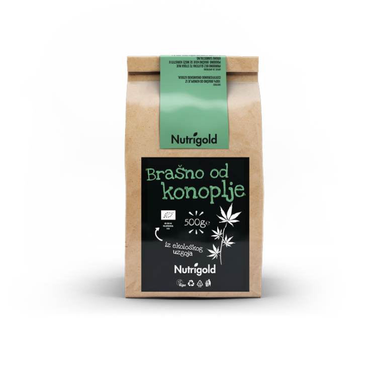 Nutrigold hemp flour from controlled organic agriculture in brown packaging of 500 grams