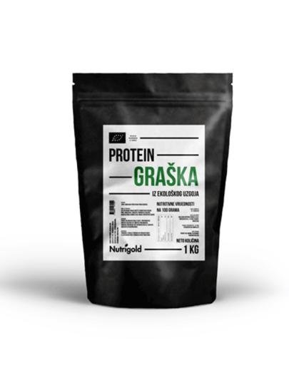 Organski Nutrigold protein graška u crnoj plastičnoj ambalaži od 1000 grama