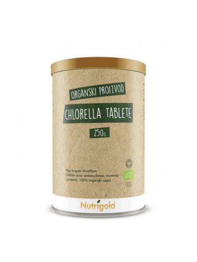 Organska Nutrigold Chlorella u tabletama u posudi od 250 g