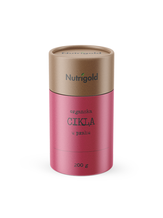 Nutrigold organic beetroot in cylinder shaped packaging box of 200g