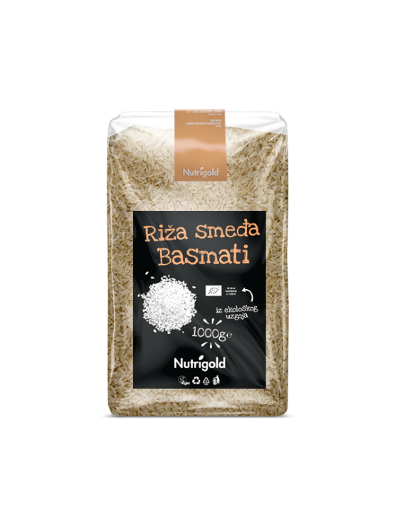 Nutrigold brown basmati rice in a transparent, plastic bag of 1000 grams