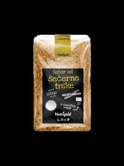 Svijetlo smeđi Nutrigold šećer od šećerne trske u prozirnoj, plastičnoj ambalaži od 1000 grama.