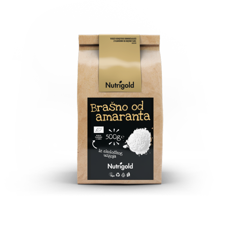 Nutrigold organic Amaranth flour in a brown packaging of 500 grams