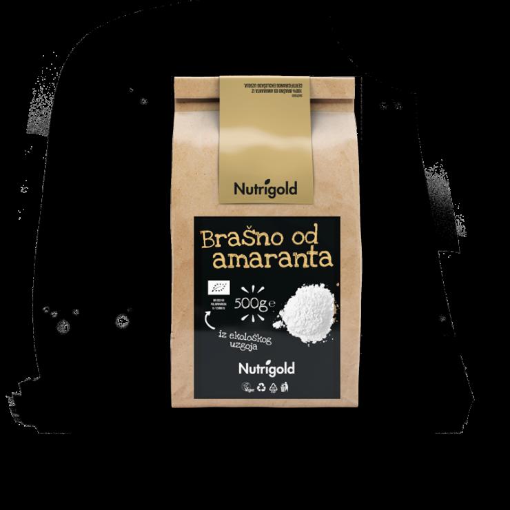 Nutrigold organsko brašno od amarantha u smeđoj ambalaži od 500 grama