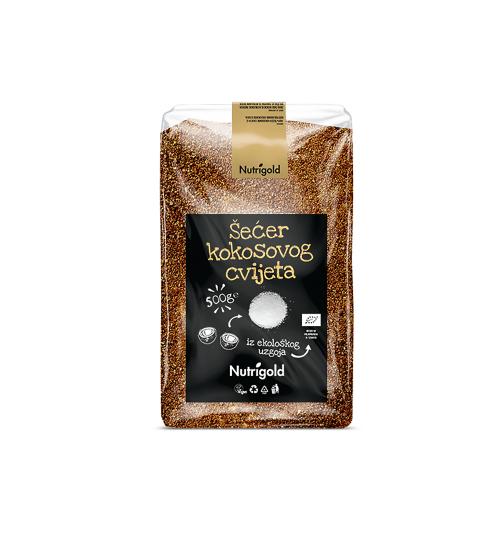 Nutrigold smeđi šećer kokosovog cvijeta u plastičnoj prozirnoj ambalaži od 500 grama.