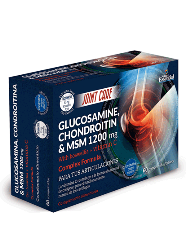 Glucosamine + chondroitin + msm 1200mg - 60 capsules of Nature Essential