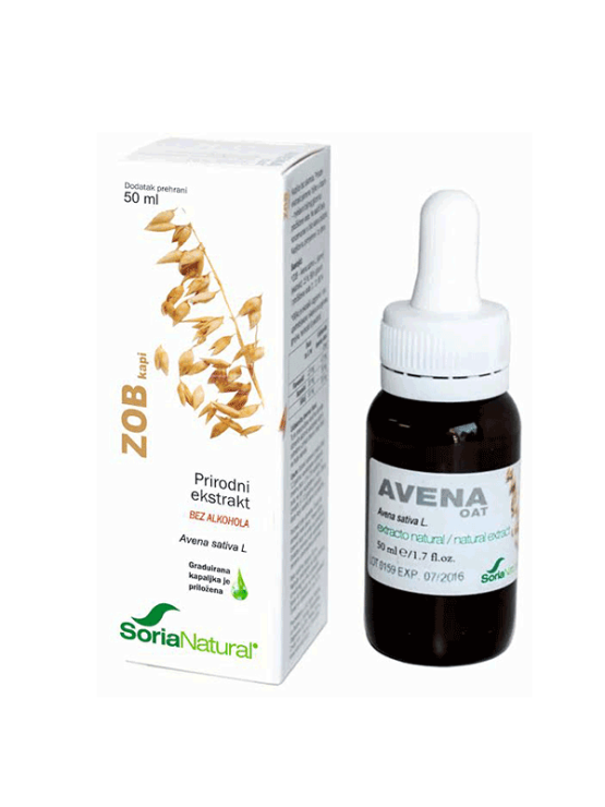 Soria Natural oat drops in a 50ml glass bottle with a dropper