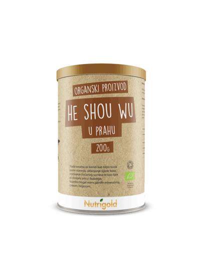 Nutrigold he shou wu korijen u prahu iz certificiranog organskog uzgoja u plastičnoj smeđoj posudi od 200 grama.