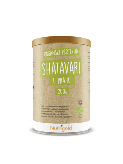 Nutrigold shatavari u prahu iz certificiranog organskog uzgoja u plastičnoj posudi od 200 grama.