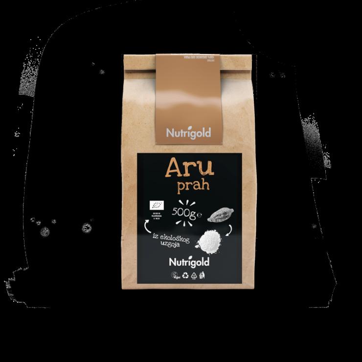 Nutrigold Aru prah iz organskog uzgoja u smeđoj ambalaži od 500 grama.