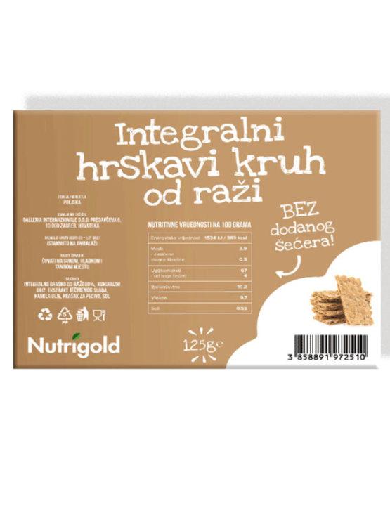 Nutrigold Integralni hrskavi kruh od raži u prozirnoj plastičnoj ambalaži 125g