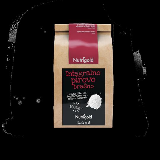 Pirovo integralno brašno od 1000g u papirnatoj natron ambalaži sa crno crvenom naljepnicom