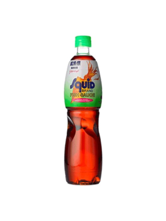 Squid brand fish sauce in a plastic bottle of 700ml