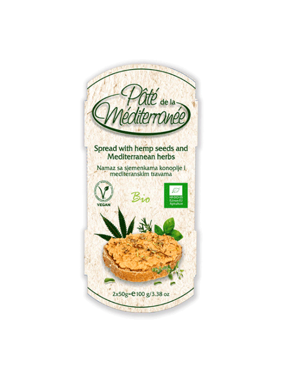 Vegetariana organic chickpea spread with Mediterranean herbs in a 100g packaging