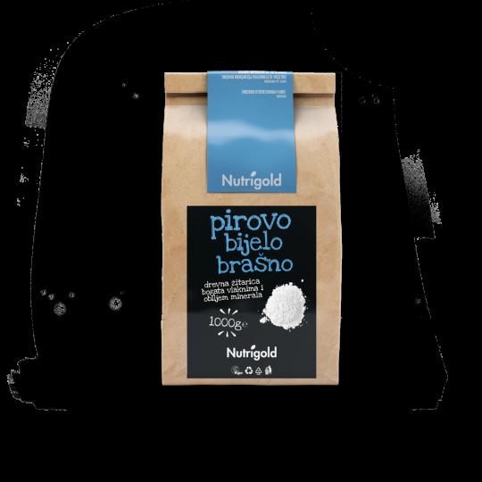 Pirovo bijelo brašno od 1000g u papirnatoj natron ambalaži  sa crno plavom naljepnicom