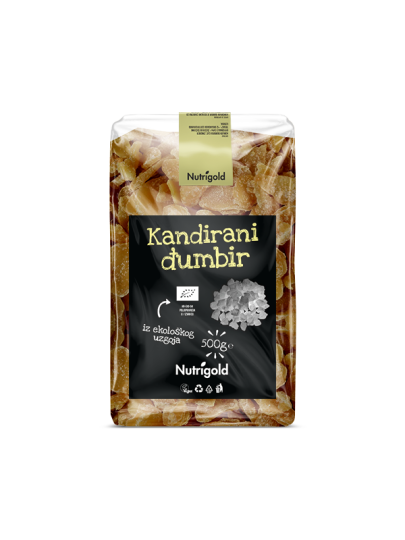 Nutrigold kandirani đumbir iz certificiranog organskog uzgoja u prozirnoj plastičnoj ambalaži od 500 grama.