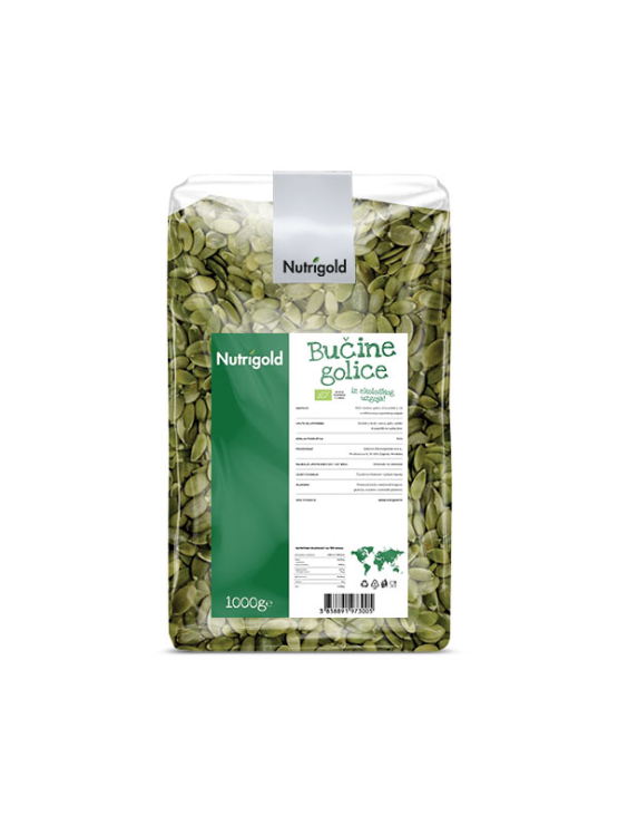 Nutrigold organic pumpkin seeds in transparent packaging of 1000 grams