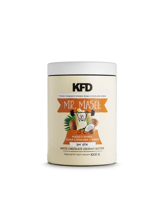 KFD white chocolate and coconut protein butter in a plastic container of 1000g