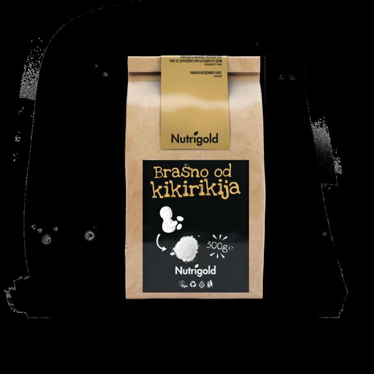 Nutrigold brašno od kikirikija u smeđoj ambalaži od 500 grama