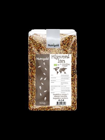 mljevene sjemenke lana iz certificiranog organskog uzgoja u plastičnoj prozirnoj ambalaži od 500g sa naljpnicom