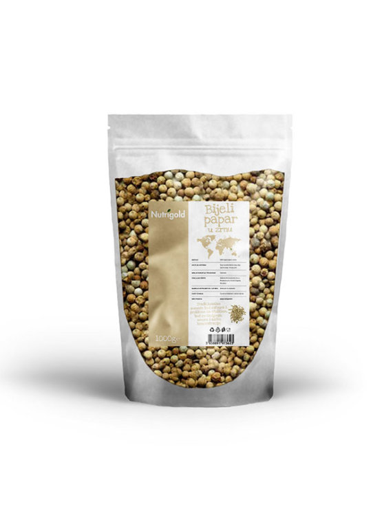 Nutrigold white peppercorns in a transparent bag of 1000 grams