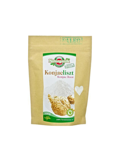Konjac brašno u žutoj papirnatoj ambalaži od 100 grama.
